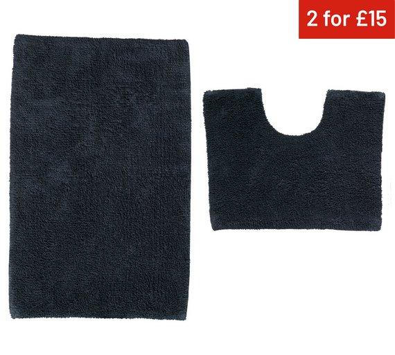 Buy Colourmatch Bath And Pedestal Mat Set Black At Argos Co Uk