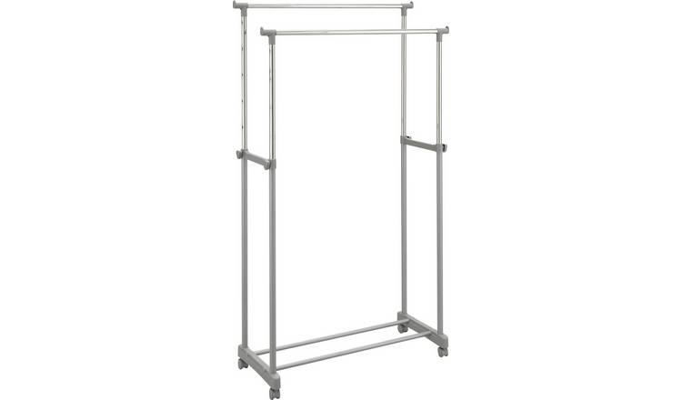 Argos Home Double Adjustable Clothes Rail - Silver