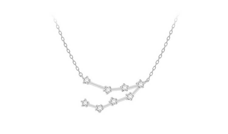 Sterling Silver Star Sign Pendant Necklace - Capricorn