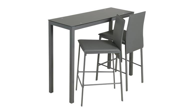 Argos Home Lido Glass Bar Table & 2 Grey Chairs