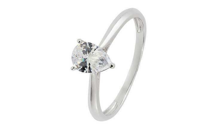 Revere 9ct White Gold Cubic Zirconia Solitaire Ring - T