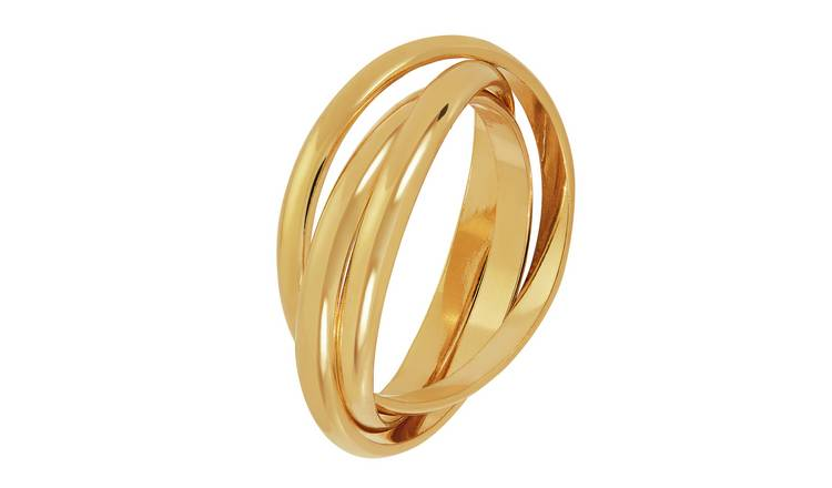 Revere 9ct Gold Plated Sterling Silver Three Band Ring - L