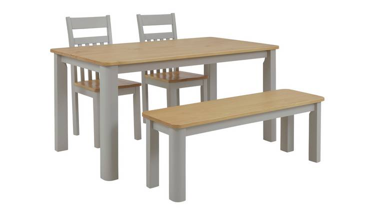 Argos Home Bournemouth Wood Table, 2 Two Tone Chairs & Bench