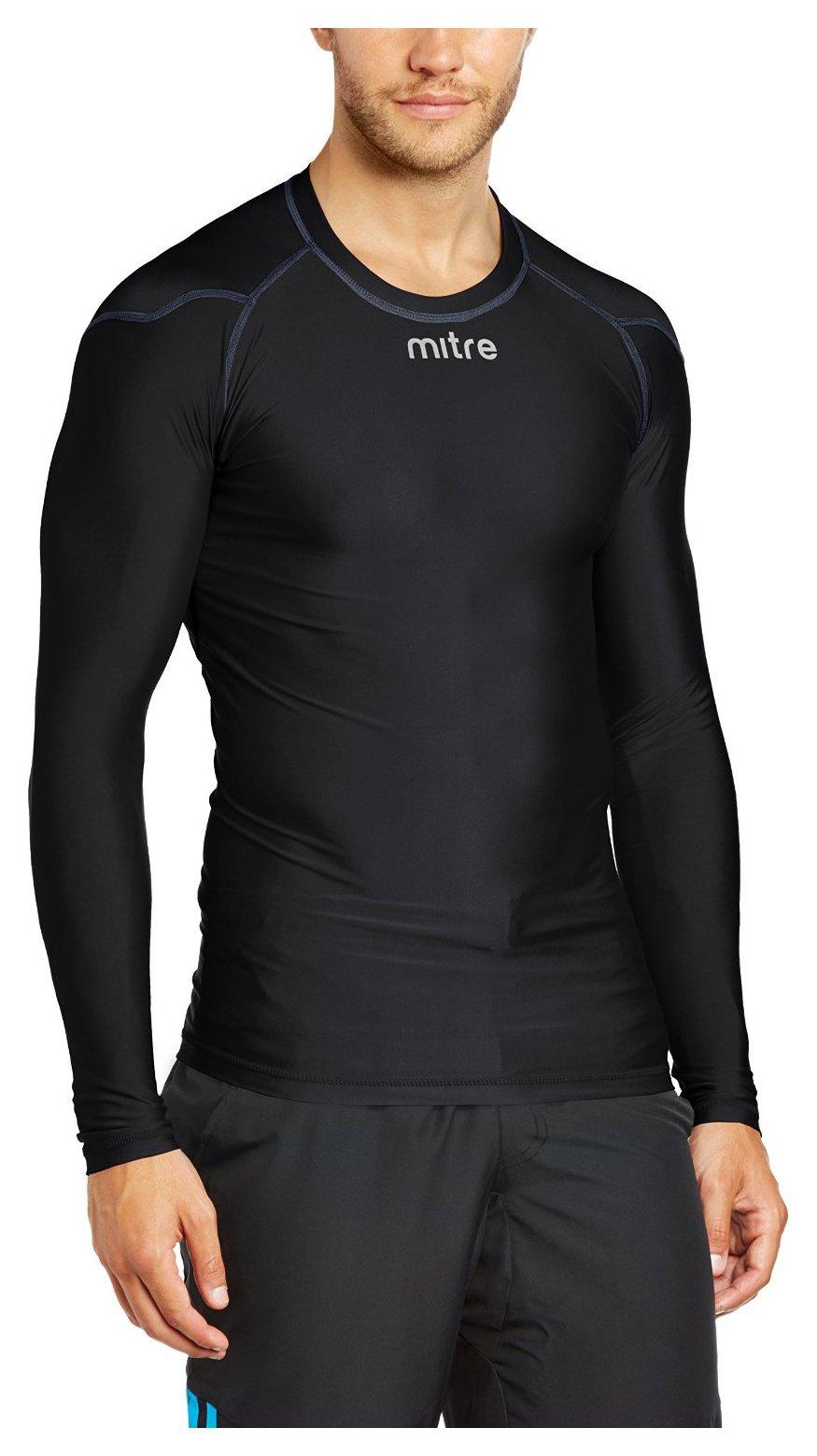 Image of Mitre Base Layer Jersey Black - Medium.