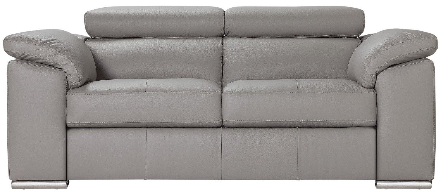 argos home valencia 2 seater leather sofa light grey. Black Bedroom Furniture Sets. Home Design Ideas