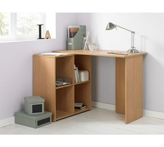 Buy HOME Calgary Corner Office Desk Oak Effect at Argoscouk