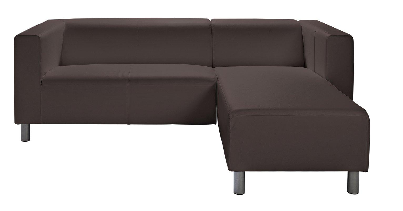 Argos Home Moda Right Corner Faux Leather Sofa - Brown