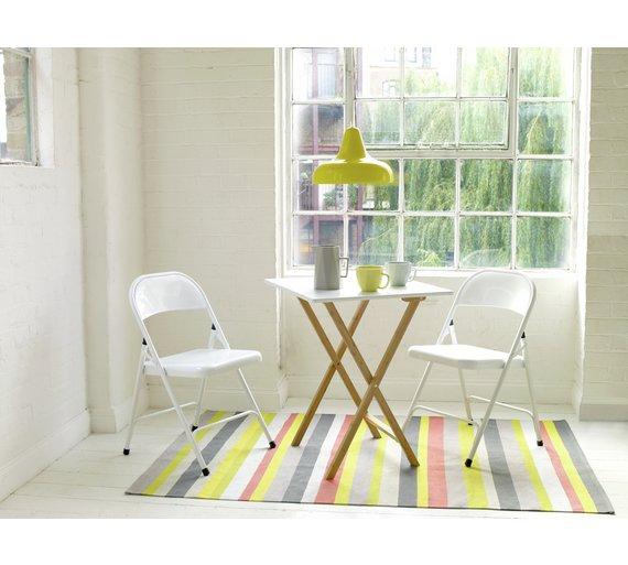 buy habitat drew folding bamboo 2 seater table white dining