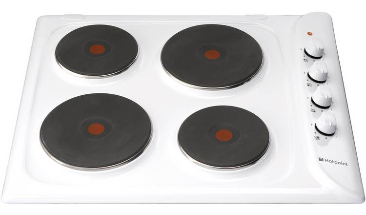 Hotpoint E6041W Electric Solid Plate Hob - White