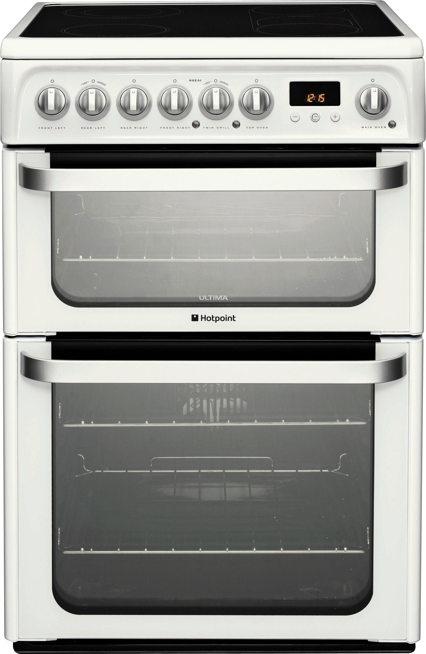 Hotpoint HUE62P 60cm Double Oven Electric Cooker - White