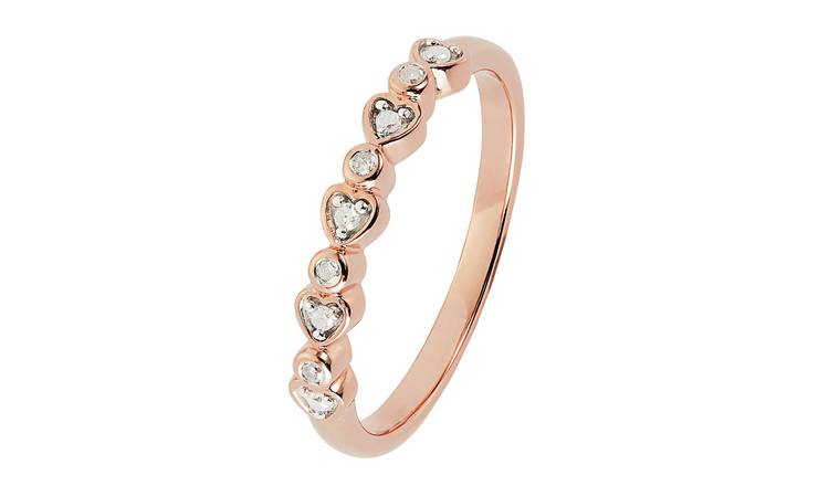 Revere 9ct Rose Gold Plated 0.05ct tw Diamond Heart Ring -H