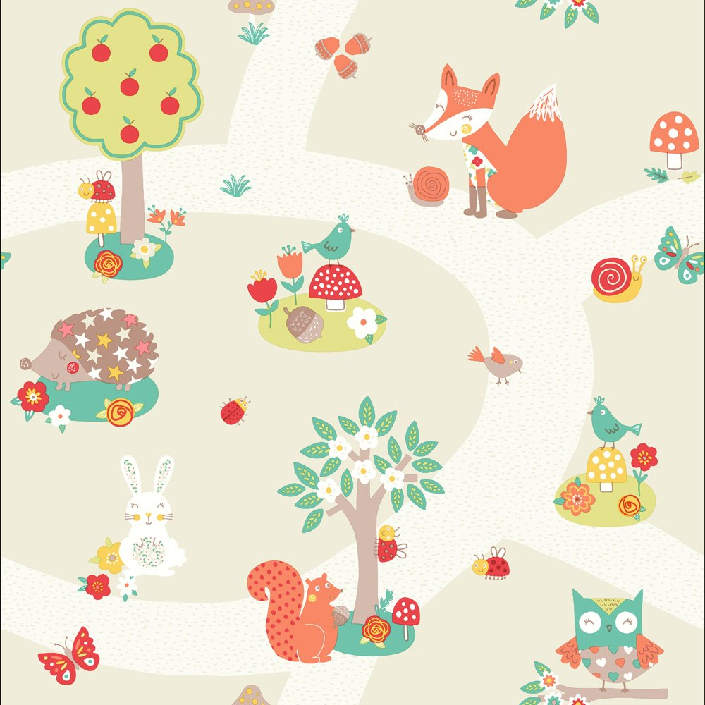 arthouse imagine fun forest friends neutral wallpaper.