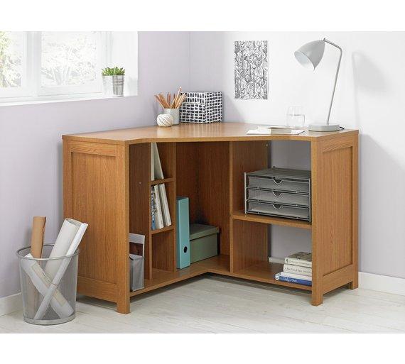 Buy home conrad corner desk oak effect at - Corner desks for home ...