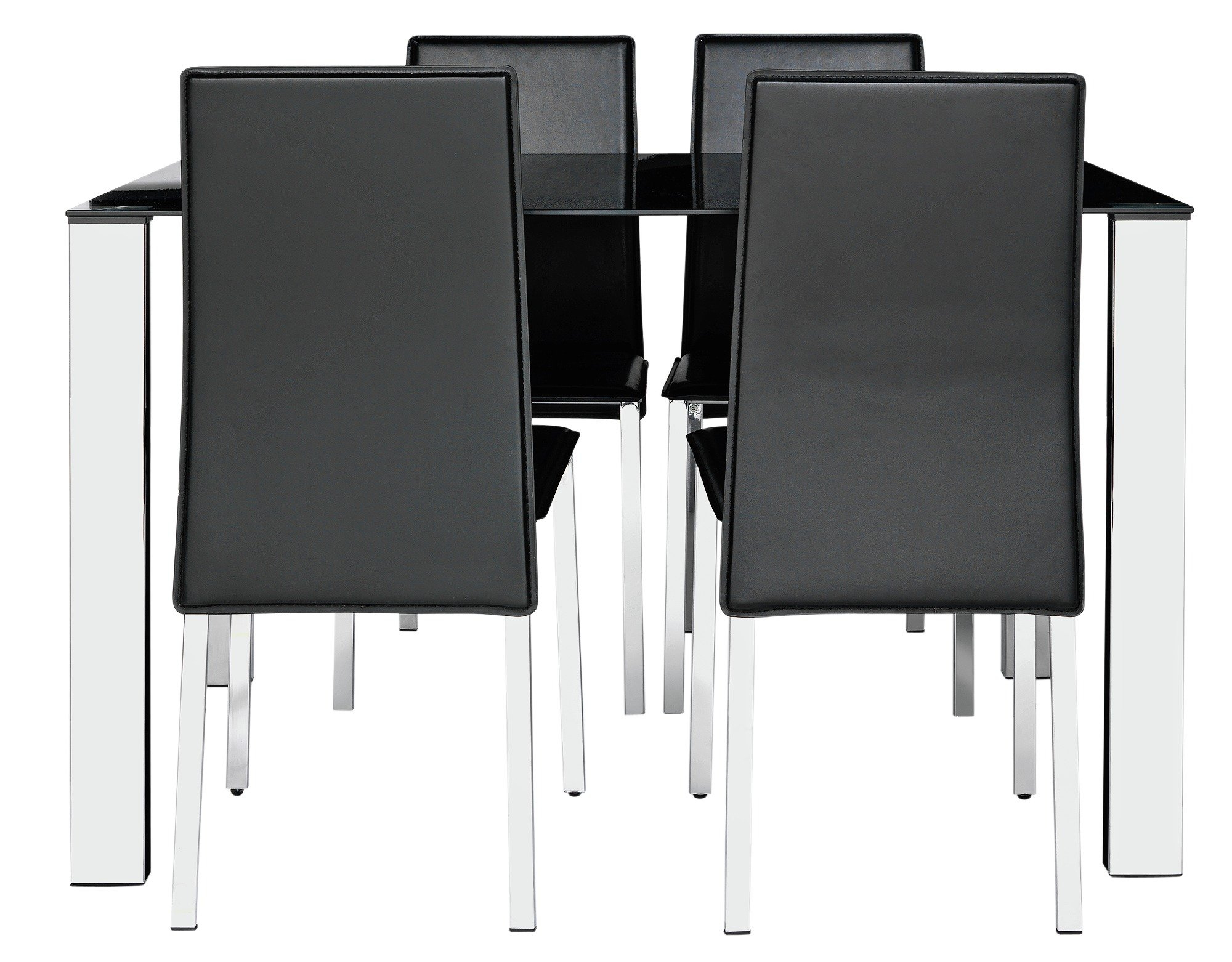 Buy Hygena Fitz Black Glass Dining Table   Chairs - Black at