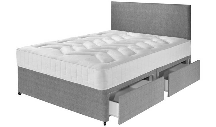 Argos Home Elmdon Double Deep Ortho 4 Drawer Divan Bed -Grey