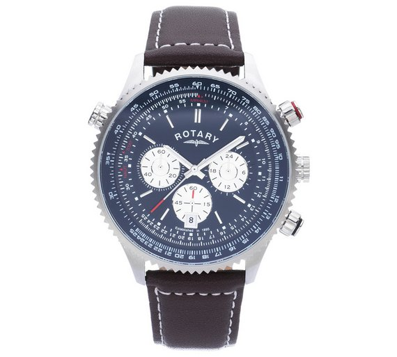buy rotary men s stainless steel chronograph leather strap watch rotary men s stainless steel chronograph leather strap watch481 2490