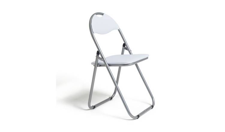Habitat Padded Faux Leather Folding Office Chair - White
