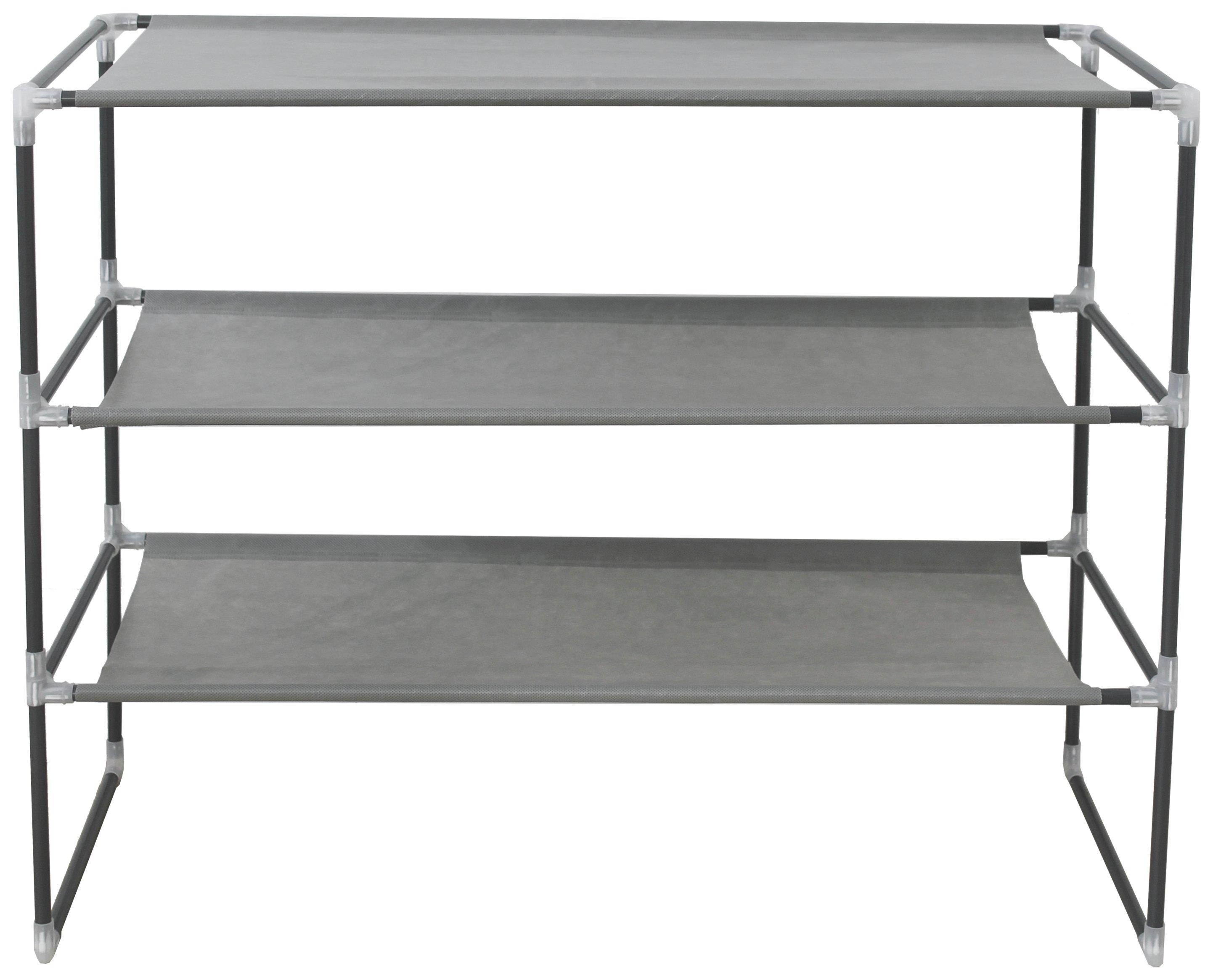 Argos Home 3 Shelf Stackable Fabric Shoe Storage Rack - Grey