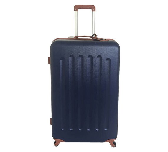 Buy Go Explore 4 Wheel Hard Medium Suitcase - Navy and Tan at ...