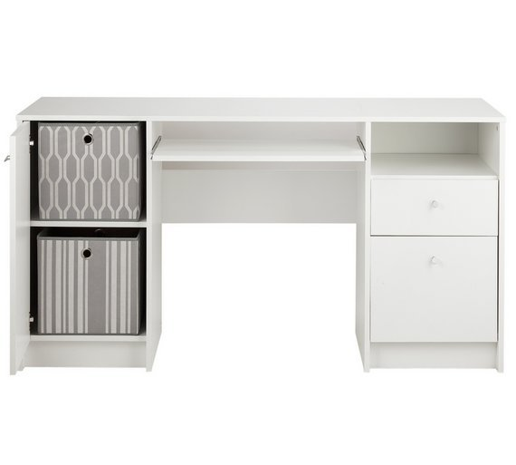 Buy HOME Calgary 2 Drw Double Pedestal Desk with Filer White at