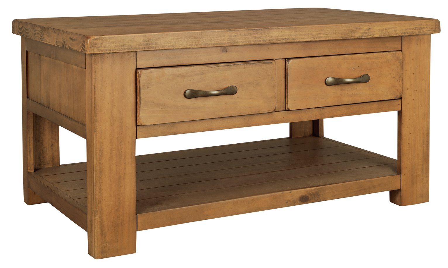 Argos Home Arizona 2 Drawer 1 Shelf Solid Pine Coffee Table