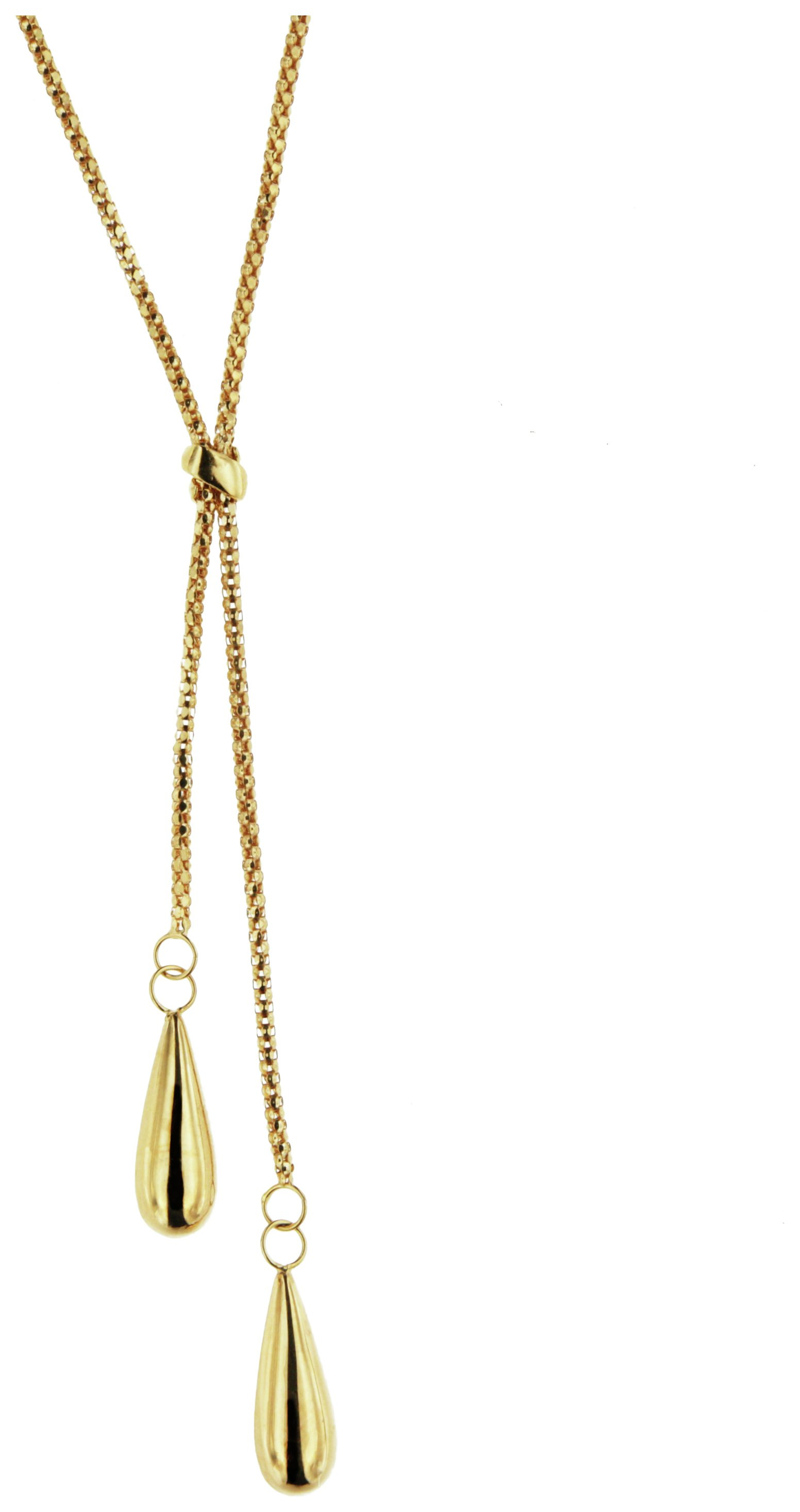 Image of Bracci - 9 Carat Gold - Teardrop Solid Look Popcorn Chain Necklace.