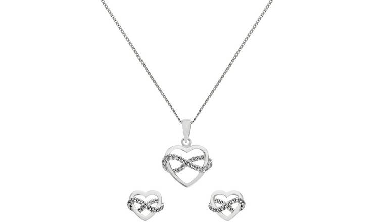 Revere Silver Cubic Zirconia Heart Pendant and Earrings Set