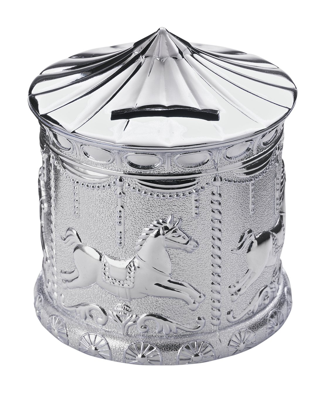 Little Star Silver Plated Carousel Money Bank