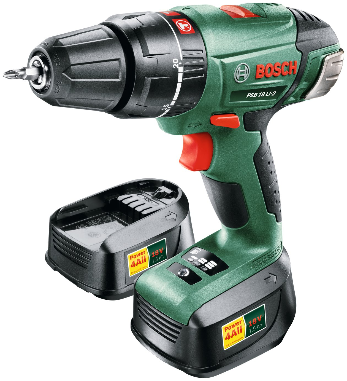 Bosch PSB 18 2Ah Cordless Hammer Drill with 2 Batteries -18V