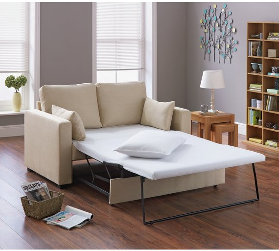 Buy HOME New Apartment 2 Seater Fabric Sofa Bed - Natural | Sofa ...