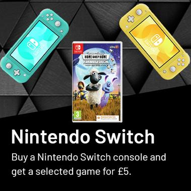 Buy a Nintendo switch console and get a selected game for £5. Plus a selected item for free.
