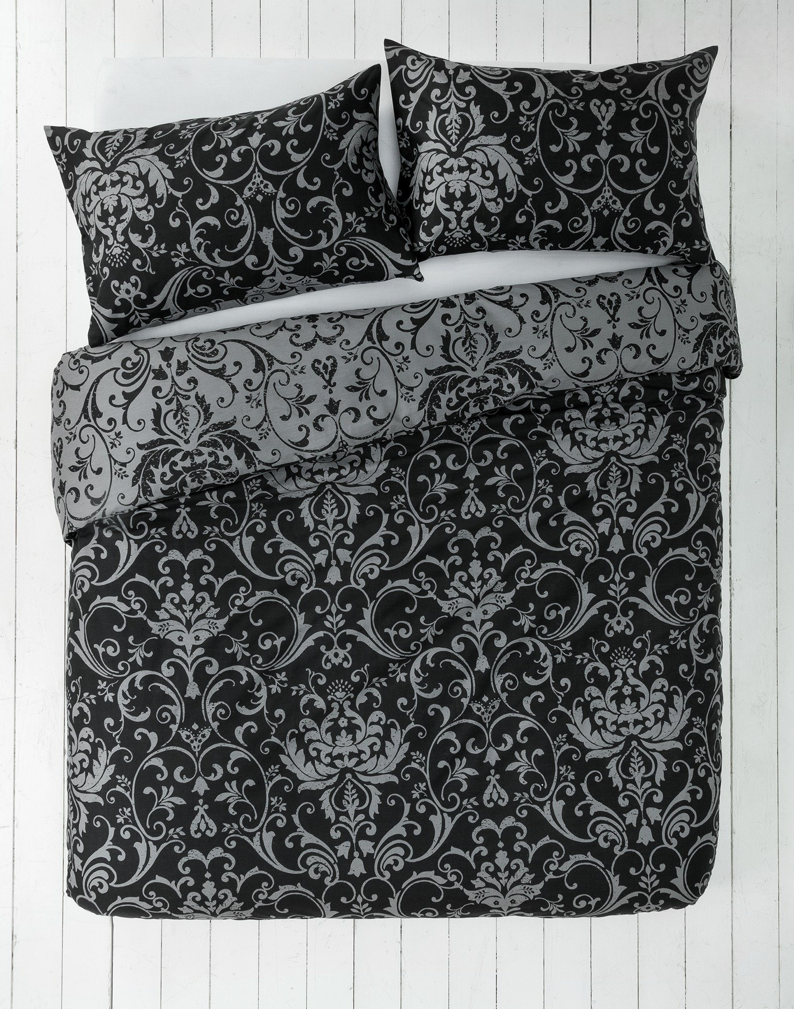 home black and grey damask bedding set double