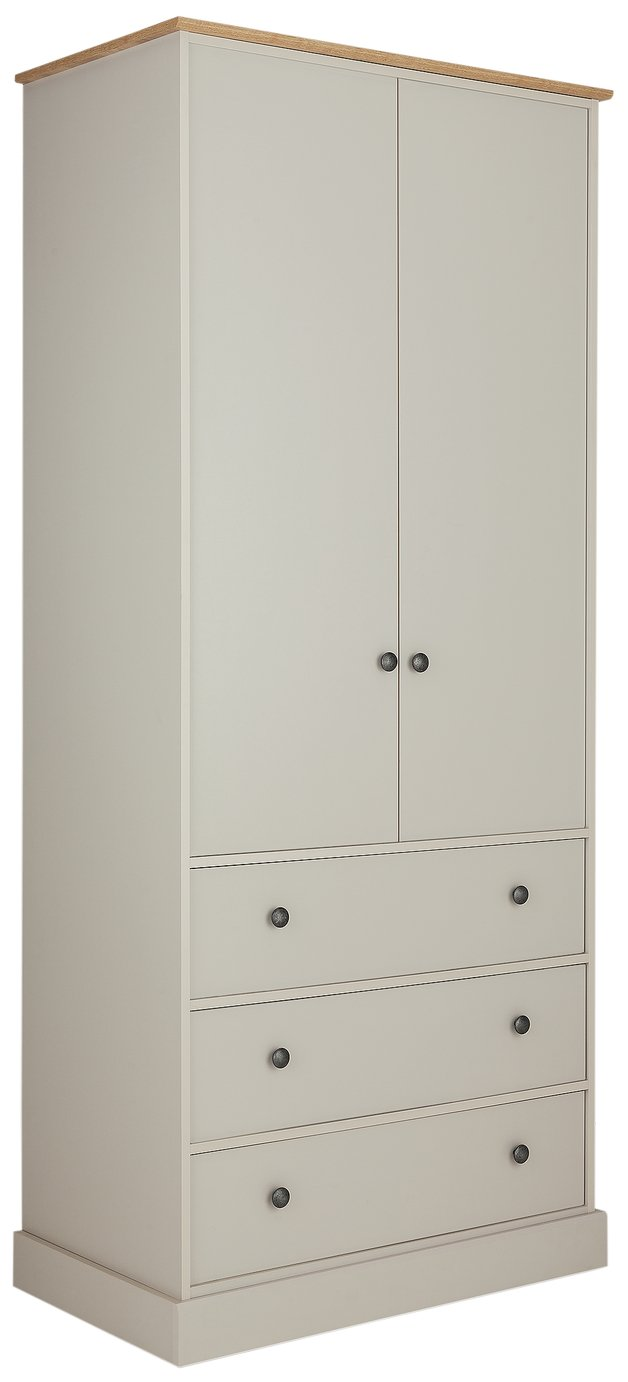 Argos Home Kensington 2Dr 3Drw Wardrobe - Soft Grey/ Oak Eff