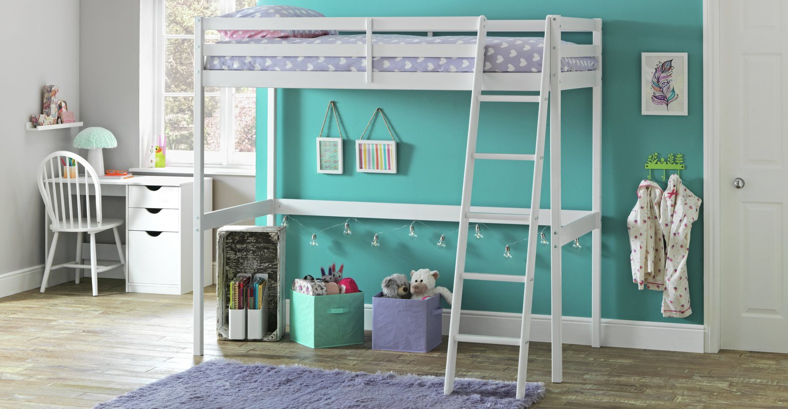 Argos - Wood - Single High Sleeper Bed Frame & Ashley Mattress -White