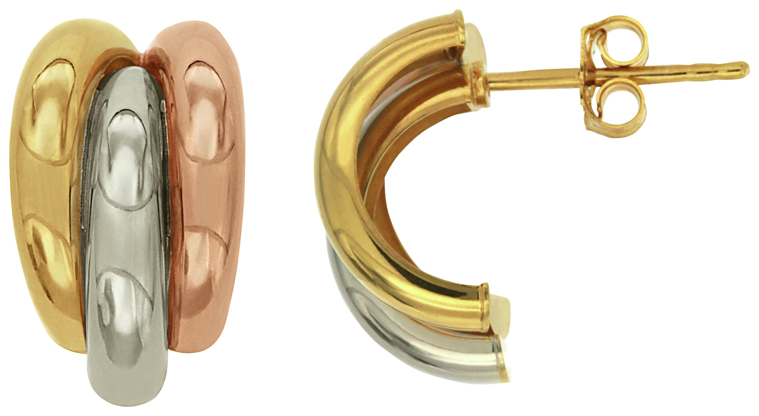 Image of Bracci - 9 Carat Three Tone Gold - Braided - Stud Earrings.