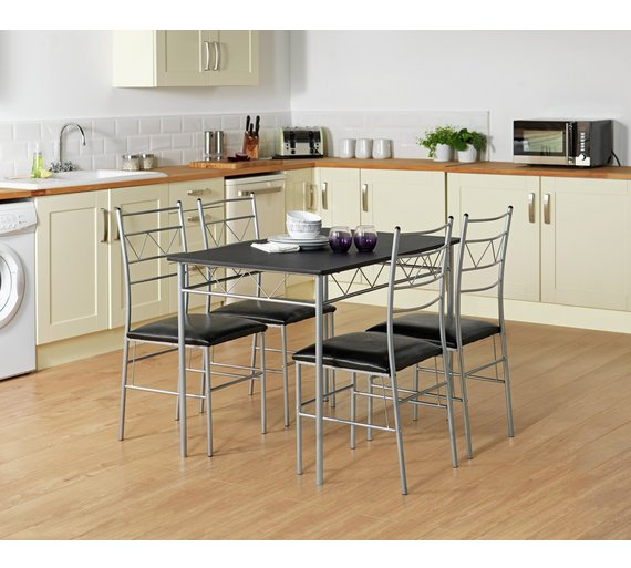 Buy HOME Oslo Wood Effect Dining Table 4 Metal Chairs Black at