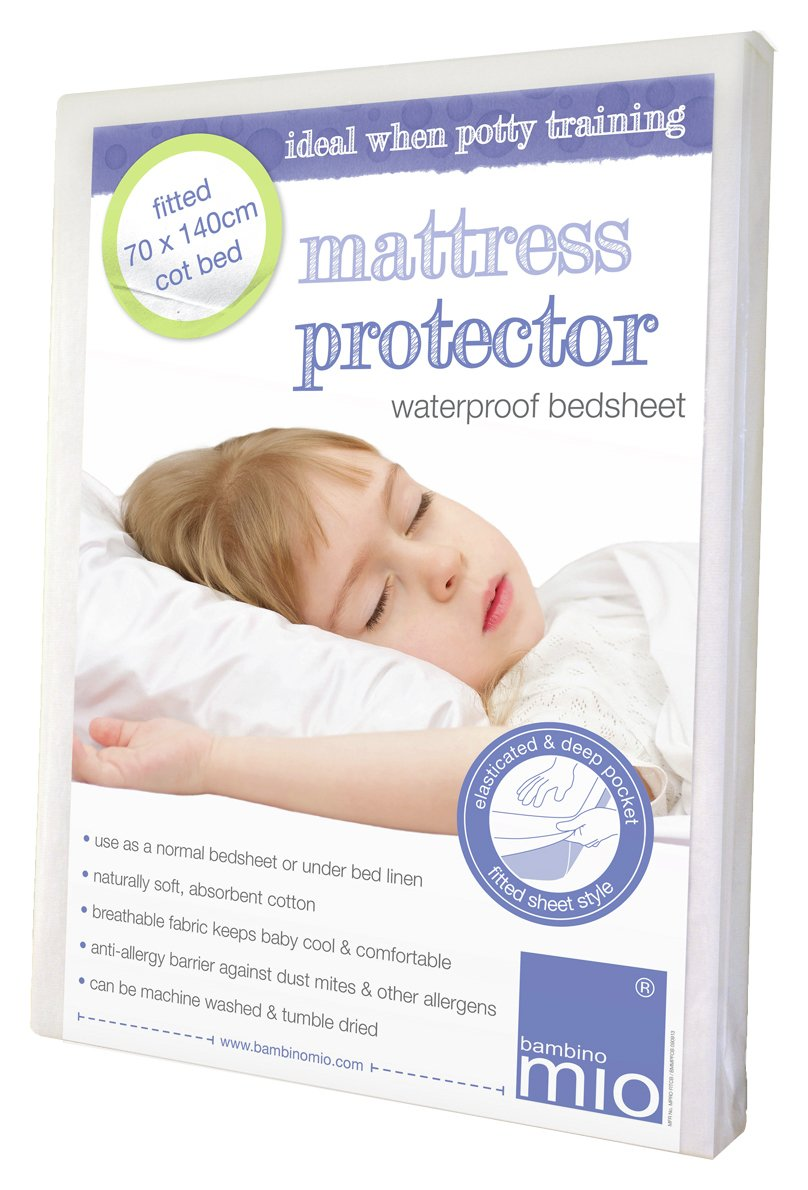 Image of Bambino Mio Fitted Mattress Protector Cot Bed.
