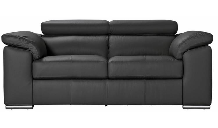 Argos Home Valencia 2 Seater Leather Sofa - Black