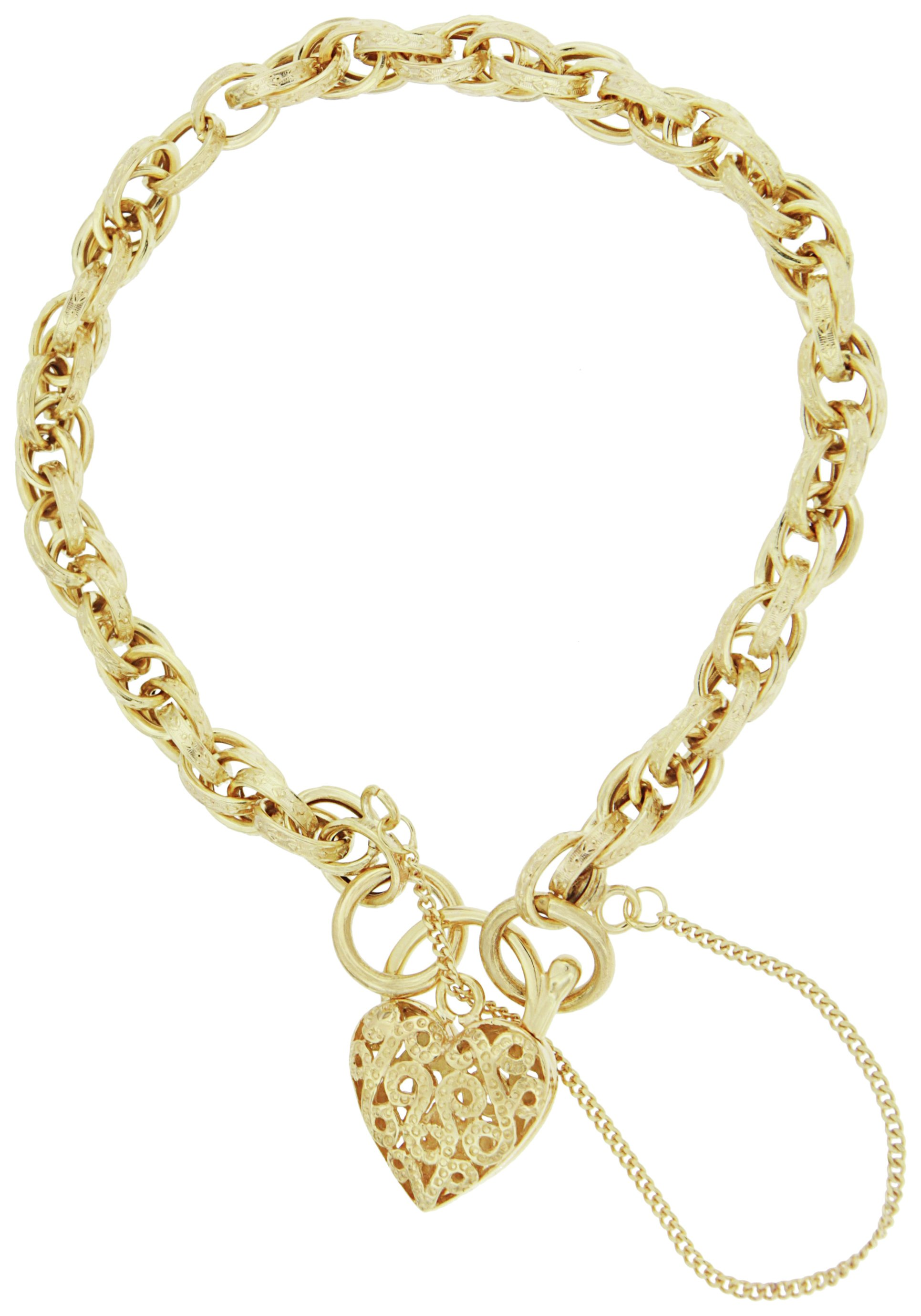 Image of Bracci - 9 Carat Gold - Textured Link Heart Bracelet.