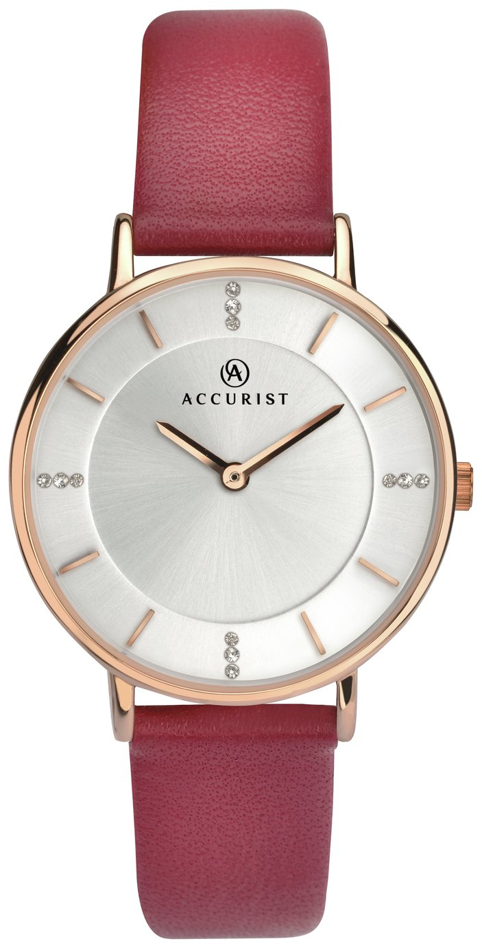 Image of Accurist - Ladies Silver Stone Set Dial Leather Strap - Watch