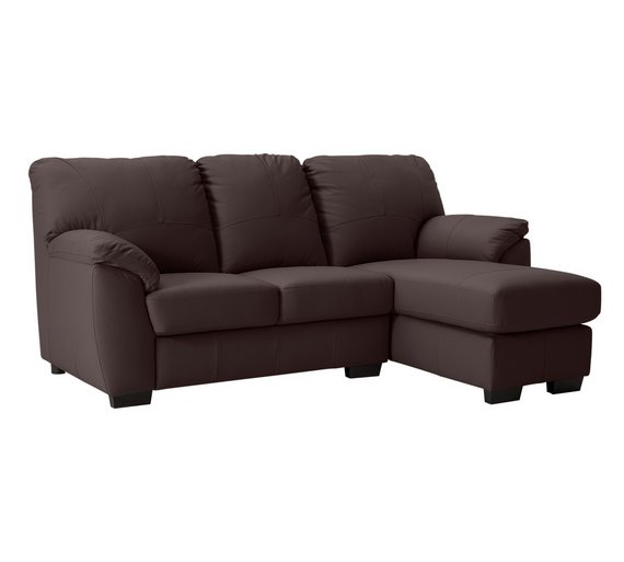 Buy collection milano leather right chaise longue sofa for Chaise longue sofa bed argos