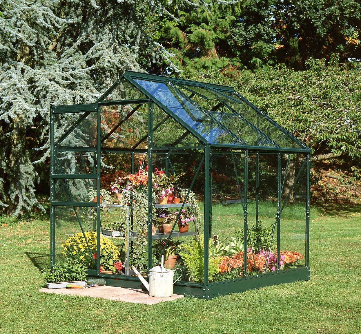 Halls Popular Glass 6 x 6ft Greenhouse with Base - Green