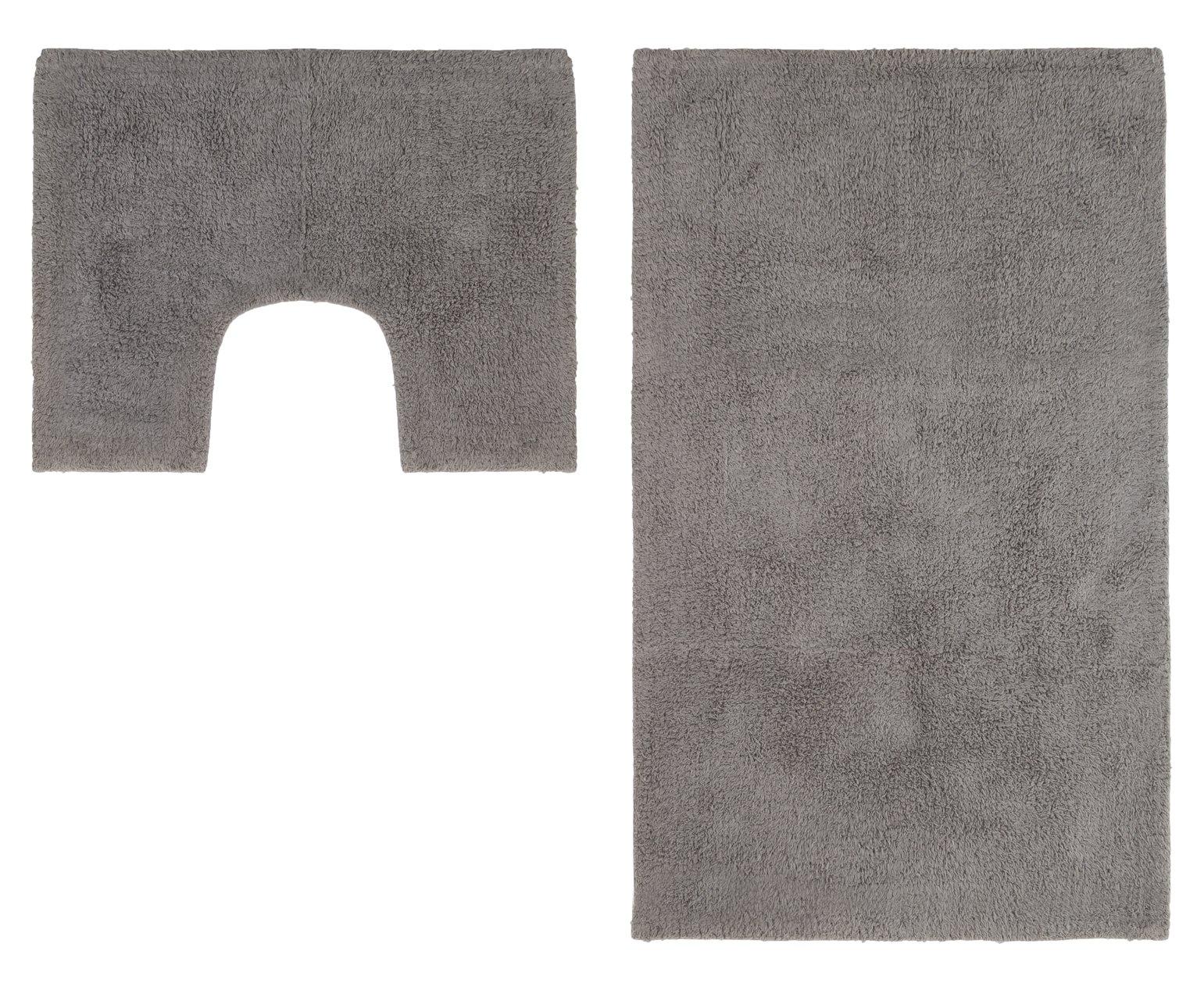 Argos Home Bath and Pedestal Mat Set - Flint Grey
