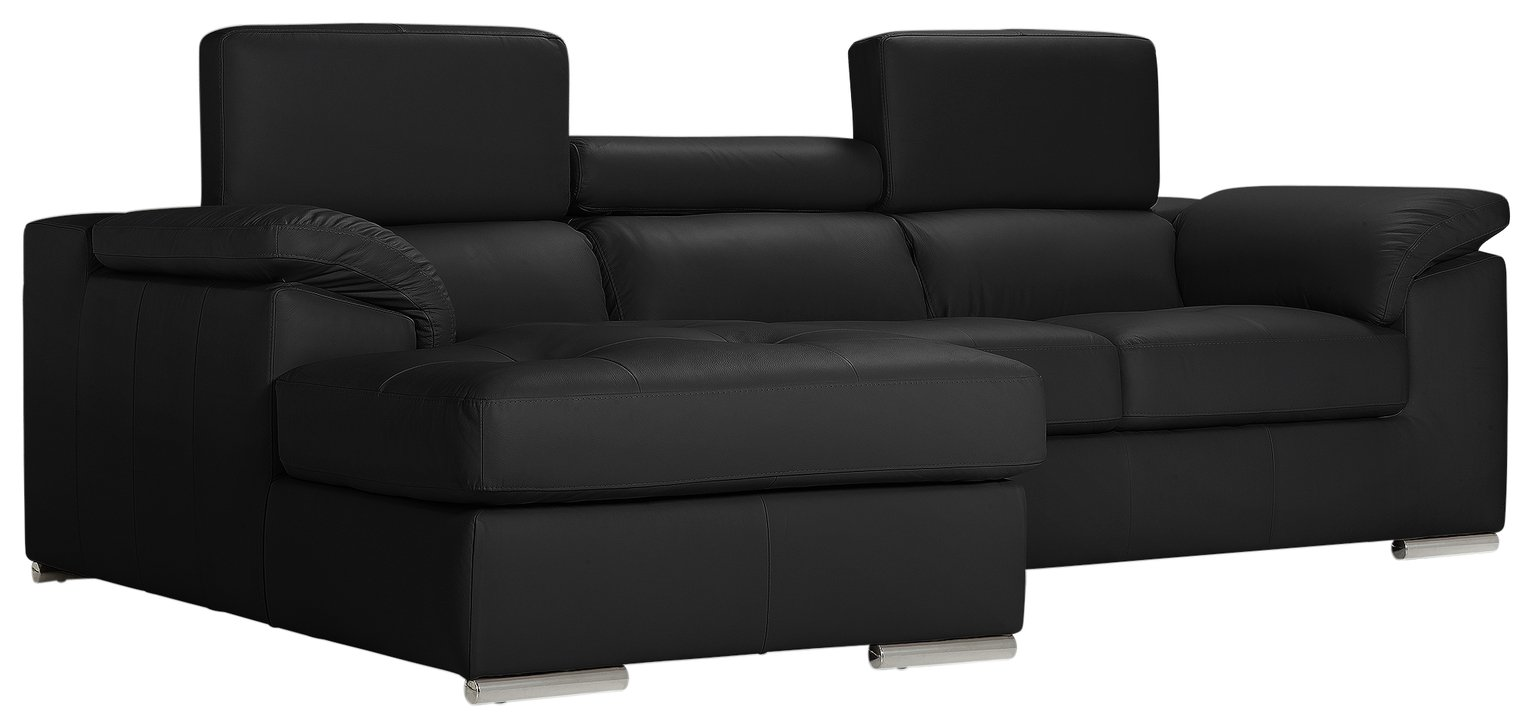 Argos Home Valencia Left Corner Leather Sofa - Black