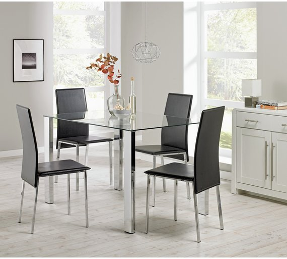 Buy Hygena Fitz Clear Glass Dining Table & 4 Chairs