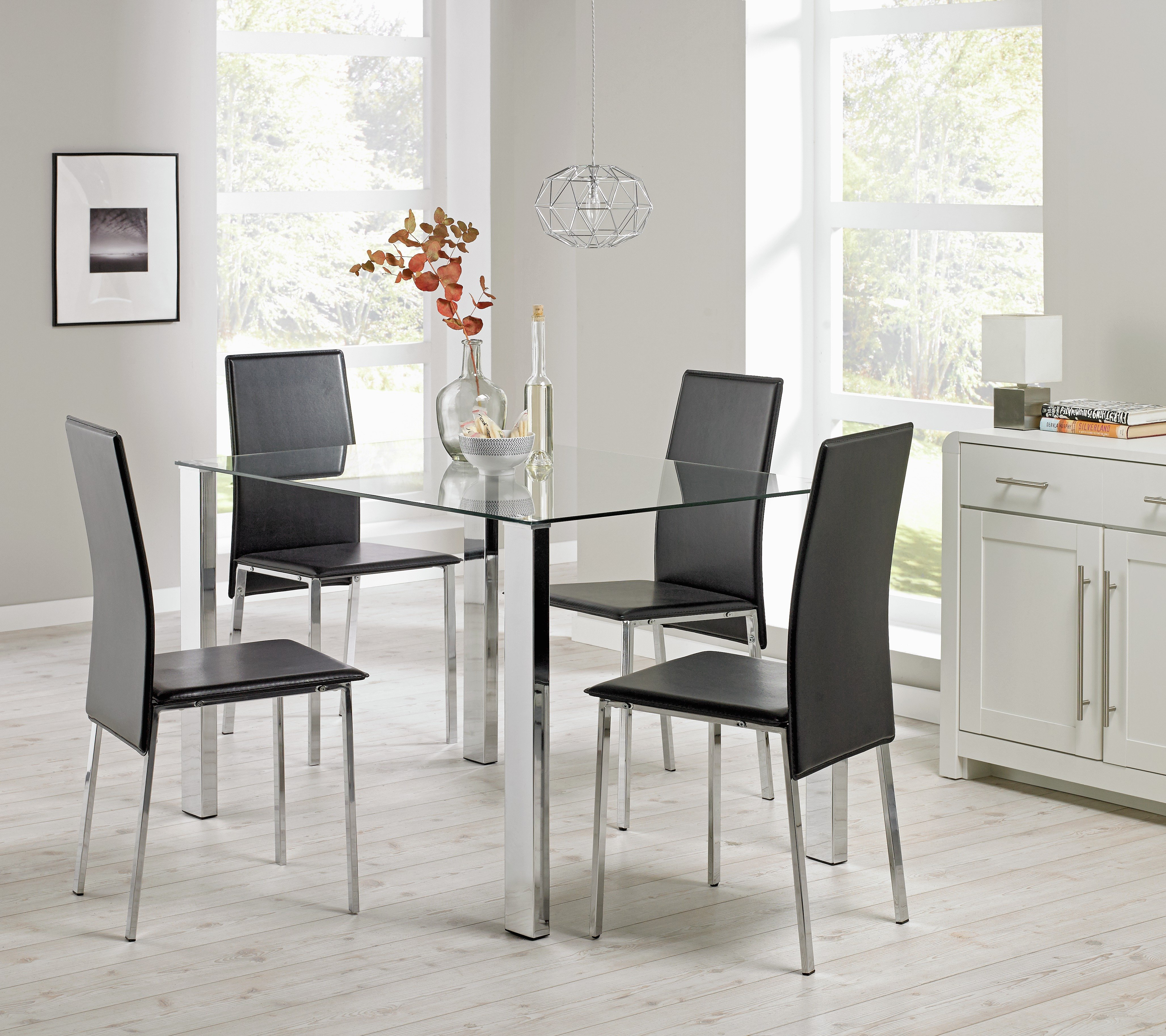 Buy Hygena Fitz Clear Glass Dining Table 4 Chairs Black at