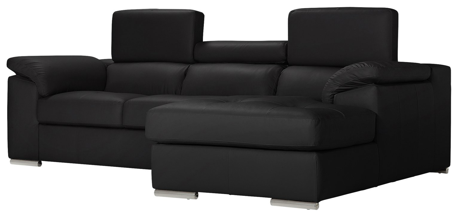 Argos Home Valencia Right Corner Leather Sofa - Black