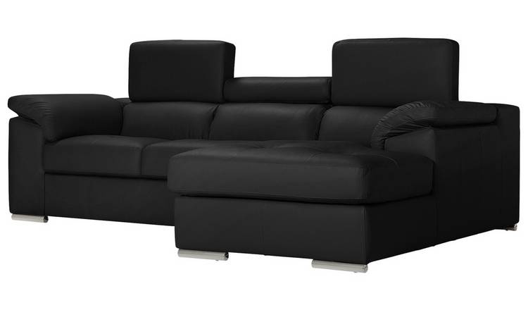 Buy Argos Home Valencia Right Corner Leather Sofa - Black | Sofas | Argos