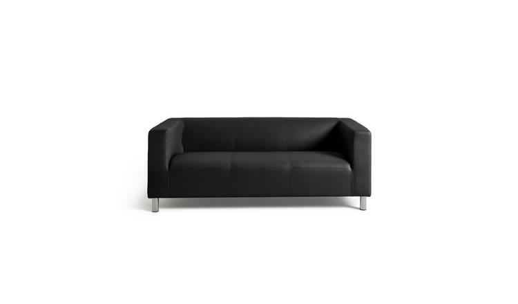 Buy Argos Home Moda 3 Seater Faux Leather Sofa - Black | Sofas | Argos