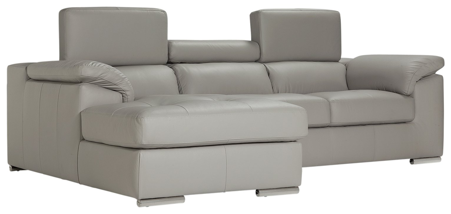 Buy Argos Home Valencia Left Corner Leather Sofa Light Grey